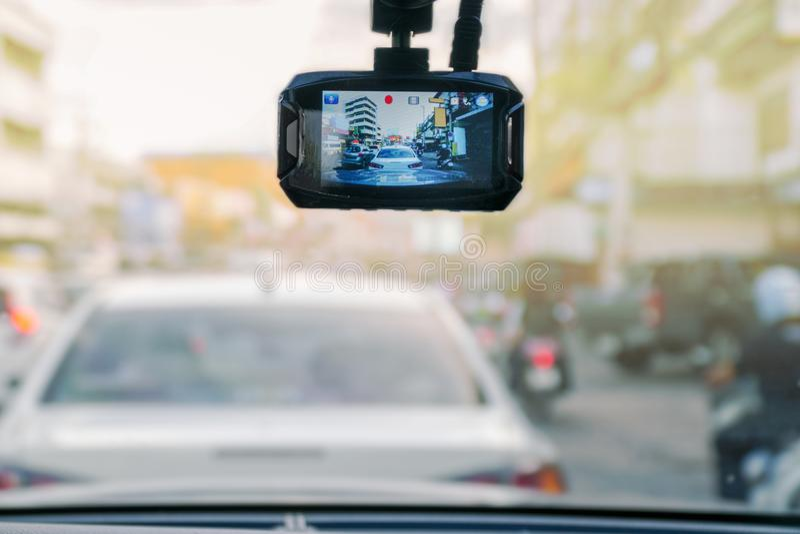 Βίντεο εγγραφής αυτοκινήτων στο μέτωπο οχημάτων στοκ φωτογραφίες