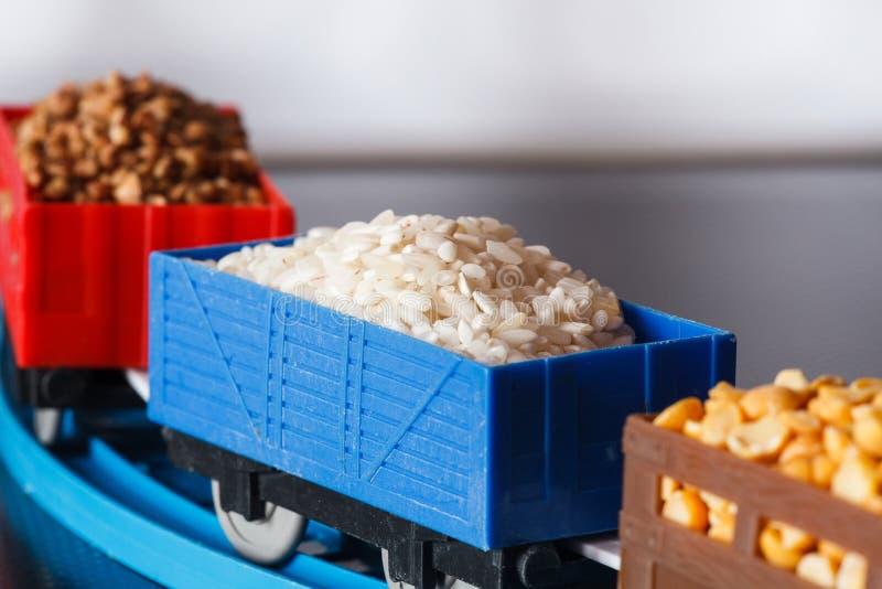 Βαγόνια εμπορευμάτων με το σιτάρι του ρυζιού, των μπιζελιών και του φαγόπυρου Πολιτισμοί σιταριού στοκ εικόνα