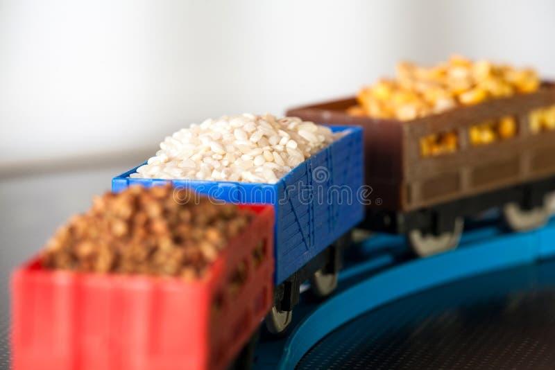 Βαγόνια εμπορευμάτων με το σιτάρι του ρυζιού, των μπιζελιών και του φαγόπυρου Πολιτισμοί σιταριού στοκ εικόνες