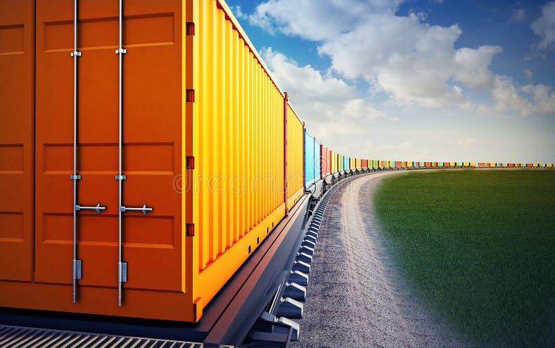 Βαγόνι εμπορευμάτων του φορτηγού τρένου απεικόνιση αποθεμάτων
