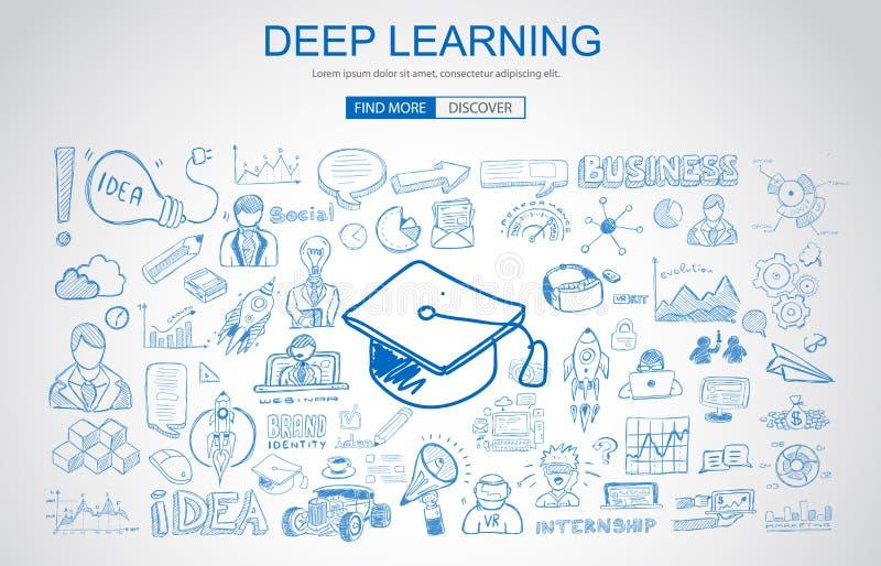 Βαθιά έννοια εκμάθησης με το ύφος σχεδίου επιχειρησιακού Doodle: on-line διανυσματική απεικόνιση