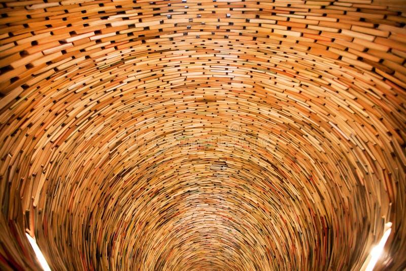 Βαθιά καλά των βιβλίων που συσσωρεύονται στα στρώματα σε έναν τεράστιο τοίχο της γνώσης στοκ εικόνες