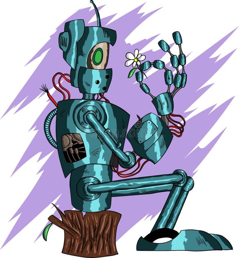 Βαθιά μπλε αστείο ρομπότ διανυσματική απεικόνιση