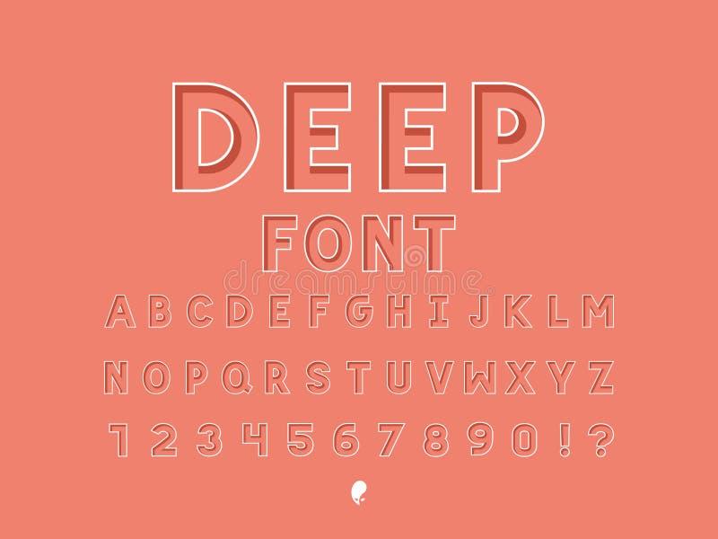 Βαθιά πηγή στοιχεία αλφάβητου που το διάνυσμα διανυσματική απεικόνιση