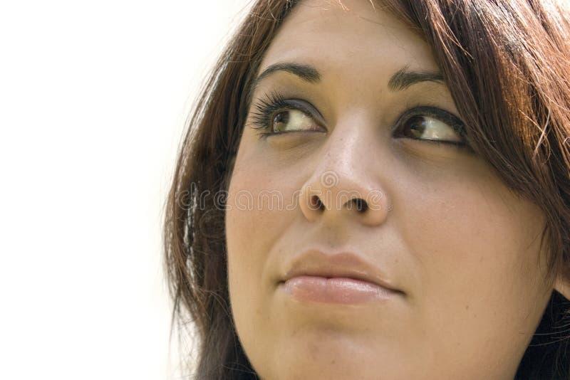 βαθιά σκεπτόμενη γυναίκα στοκ φωτογραφία