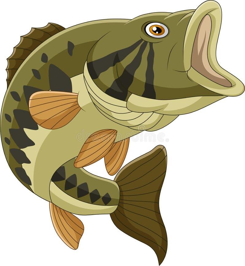 Βαθιά ψάρια κινούμενων σχεδίων που απομονώνονται στο άσπρο υπόβαθρο απεικόνιση αποθεμάτων