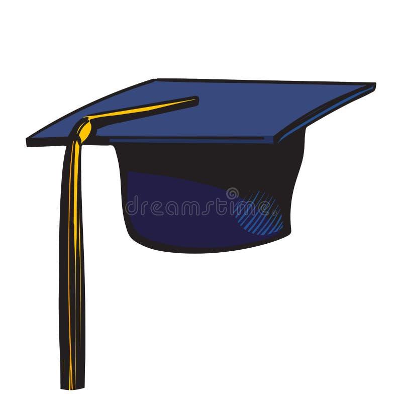 Βαθμολόγηση ΚΑΠ με τον κίτρινο θύσανο Σκίτσο του μαύρου ακαδημαϊκού καπέλου που απομονώνεται στο άσπρο υπόβαθρο συρμένο διάνυσμα  ελεύθερη απεικόνιση δικαιώματος