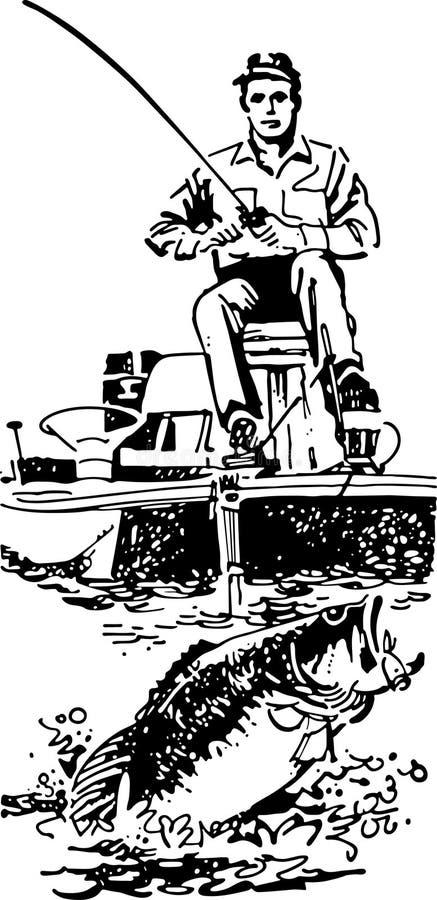 Βαθύς ψαράς στη βάρκα διανυσματική απεικόνιση