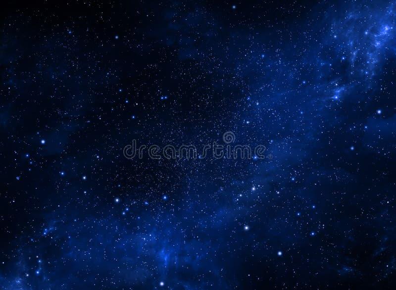 Βαθύ διάστημα Νυχτερινός ουρανός, αφηρημένο μπλε υπόβαθρο διανυσματική απεικόνιση