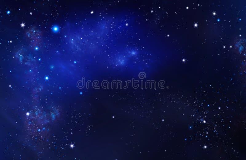 Βαθύ διάστημα Νυχτερινός ουρανός, αφηρημένο μπλε υπόβαθρο απεικόνιση αποθεμάτων