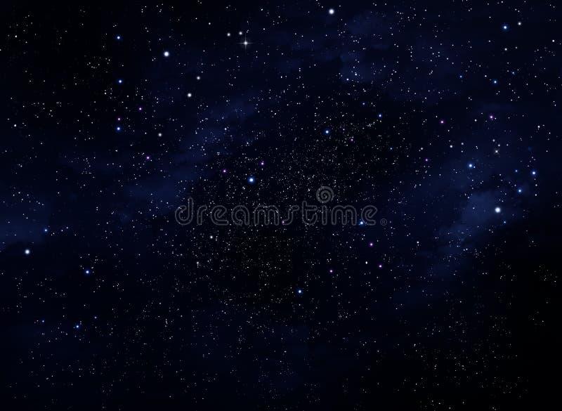 Βαθύ διάστημα Νυχτερινός ουρανός, αφηρημένο μπλε υπόβαθρο ελεύθερη απεικόνιση δικαιώματος