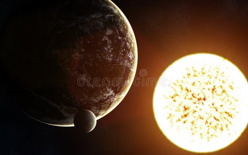 Βαθύ διάστημα Exoplanet, κόκκινο γιγαντιαίο αστέρι Τα στοιχεία της εικόνας εφοδιάζονται από τη NASA στοκ φωτογραφία