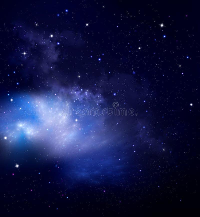 Βαθύ διαστημικό υπόβαθρο με το νεφέλωμα και τα αστέρια Νυχτερινός ουρανός απεικόνιση αποθεμάτων