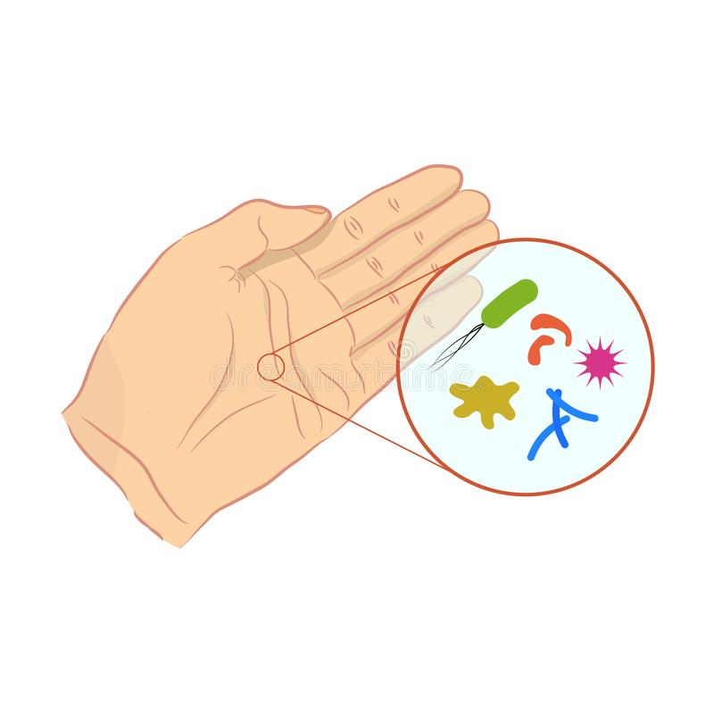 Βακτηρίδια και ιοί στο ανθρώπινο δέρμα ελεύθερη απεικόνιση δικαιώματος