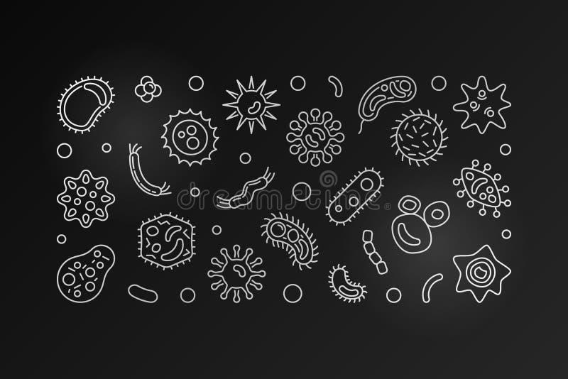 Βακτηριακό έμβλημα περιλήψεων κυττάρων Διανυσματική ασημένια απεικόνιση διανυσματική απεικόνιση
