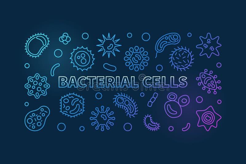 Βακτηριακό μπλε οριζόντιο έμβλημα κυττάρων διάνυσμα λωρίδων χιονιού γραμμών απεικόνισης ανασκοπήσεων ελεύθερη απεικόνιση δικαιώματος