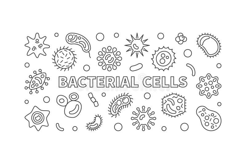 Βακτηριακό οριζόντιο έμβλημα κυττάρων Διανυσματική απεικόνιση περιλήψεων απεικόνιση αποθεμάτων