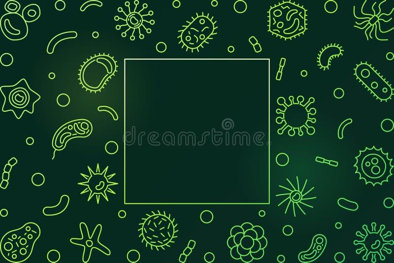 Βακτηριακό πράσινο πλαίσιο κυττάρων Διανυσματική απεικόνιση μικροβιολογίας διανυσματική απεικόνιση