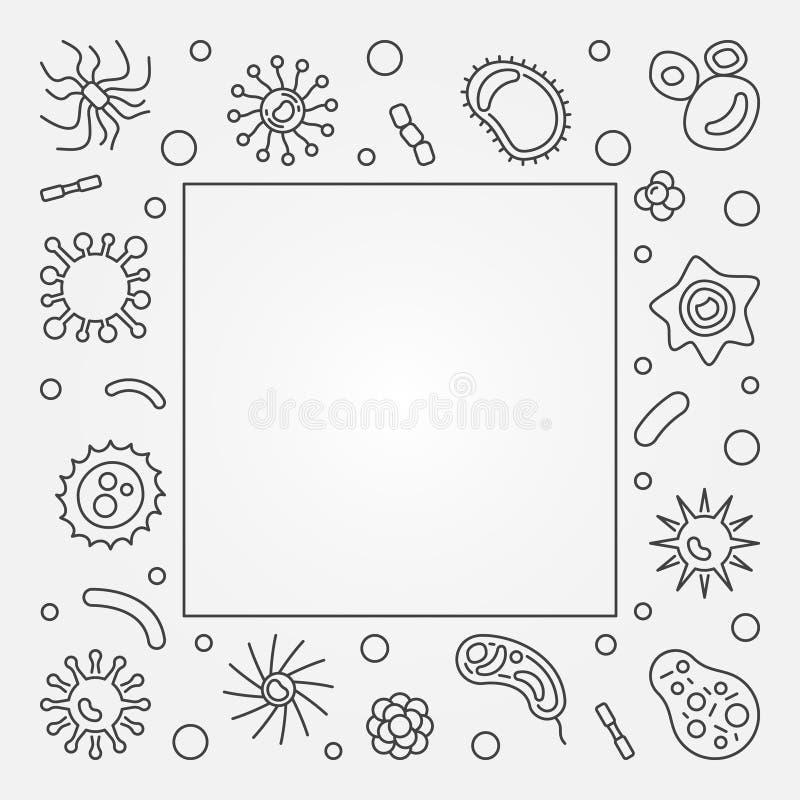 Βακτηριακό τετραγωνικό πλαίσιο κυττάρων Διανυσματική απεικόνιση γραμμών έννοιας απεικόνιση αποθεμάτων
