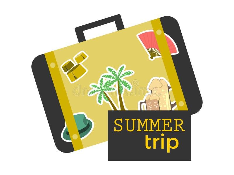 Βαλίτσα θερινού ταξιδιού με τις αυτοκόλλητες ετικέττες Έμβλημα ταξιδιού, εικονίδιο που απομονώνεται στο άσπρο υπόβαθρο διάνυσμα απεικόνιση αποθεμάτων