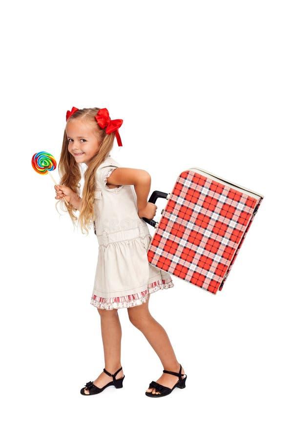 βαλίτσα κοριτσιών lollipop αρκε στοκ εικόνες με δικαίωμα ελεύθερης χρήσης