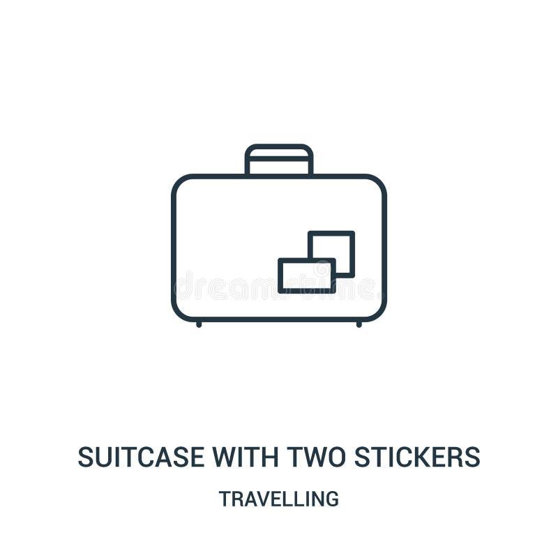 βαλίτσα με το διάνυσμα εικονιδίων δύο αυτοκόλλητων ετικεττών από τη διακινούμενη συλλογή Λεπτή βαλίτσα γραμμών με το διάνυσμα εικ ελεύθερη απεικόνιση δικαιώματος