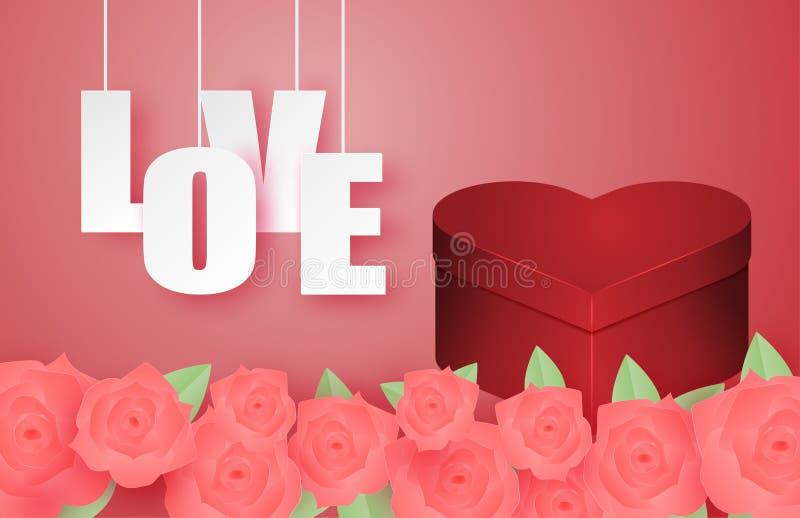 Βαλεντίνοι Λάβαρο ημέρας με χάρτινο κουτί καρδιακού σχήματος και τριαντάφυλλο σε στυλ κομμένου χαρτιού Ιδέα της ημέρας του Αγίου  διανυσματική απεικόνιση