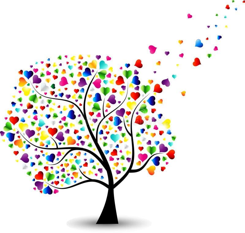 βαλεντίνος δέντρων αγάπης φύλλων καρδιών απεικόνιση αποθεμάτων