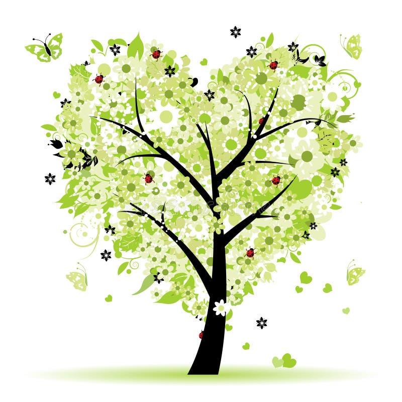 βαλεντίνος δέντρων αγάπης & ελεύθερη απεικόνιση δικαιώματος