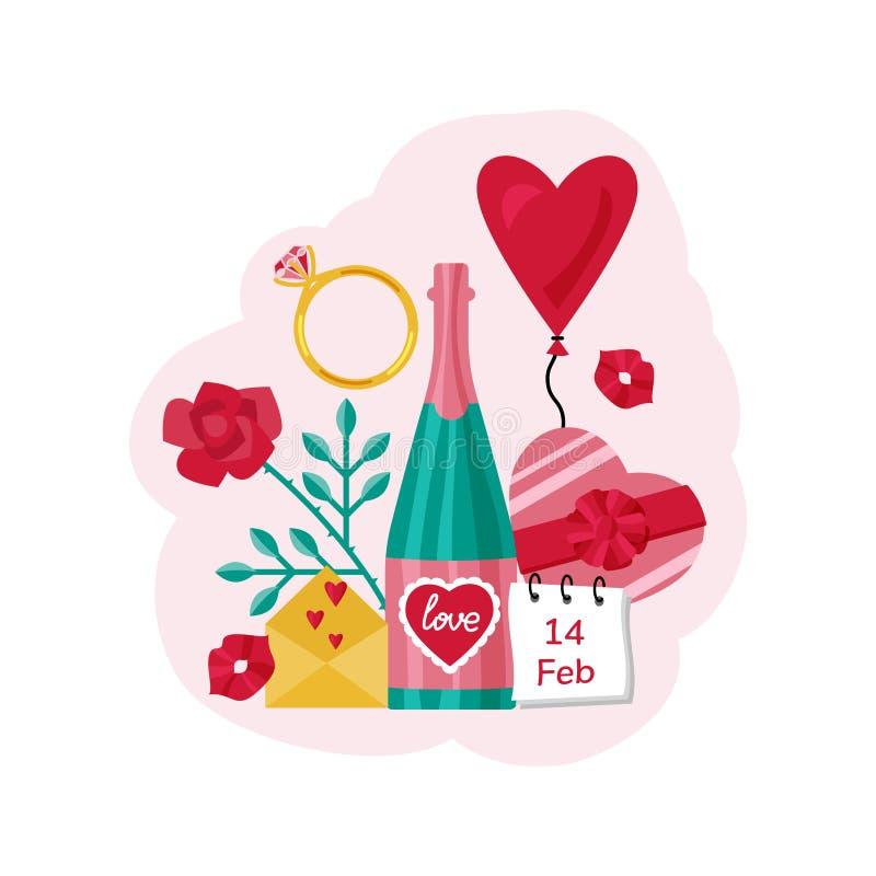 βαλεντίνος καρτών s ημέρας Ένα μπουκάλι της σαμπάνιας, του βαλεντίνου, της καρδιάς, του μπαλονιού, της καραμέλας και των φιλιών απεικόνιση αποθεμάτων