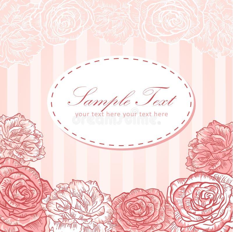 βαλεντίνος λωρίδων αγάπης πρόσκλησης λουλουδιών καρτών ελεύθερη απεικόνιση δικαιώματος