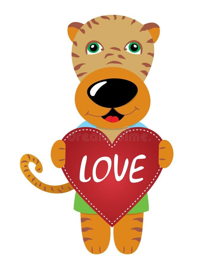 βαλεντίνος μορφής αγάπης καρδιών καρτών Η τίγρη κρατά μια κόκκινη καρδιά στα πόδια της απεικόνιση αποθεμάτων