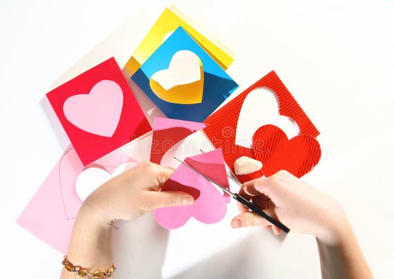 βαλεντίνος χρώματος καρτών στοκ εικόνες