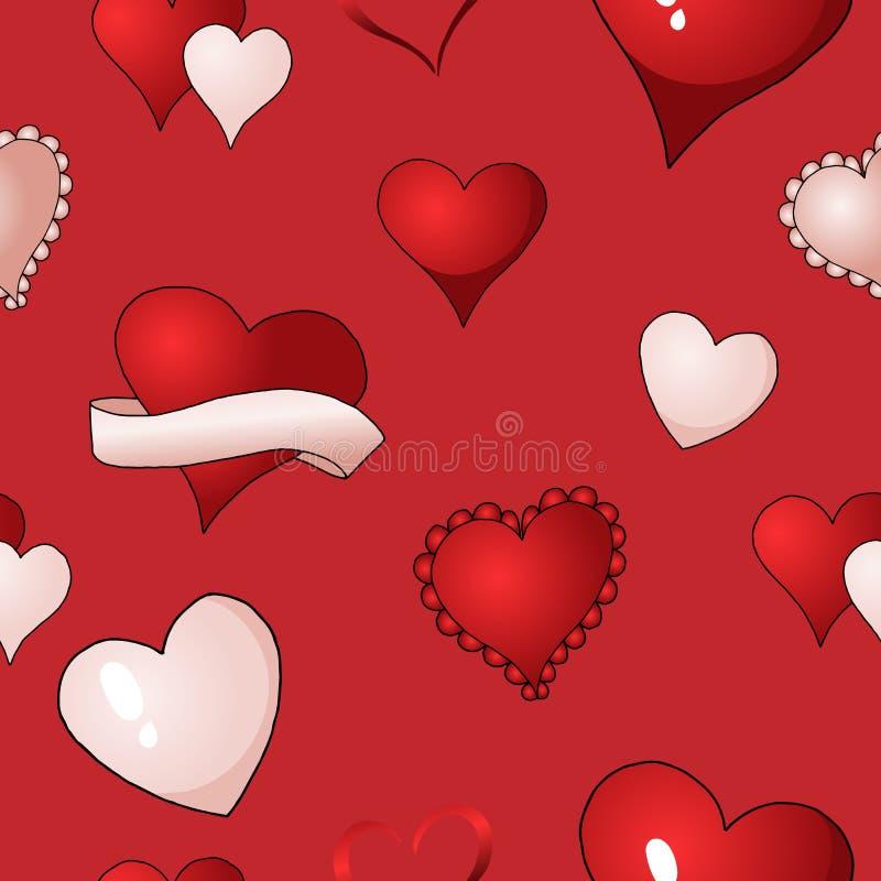 Βαλεντίνων επαναλαμβανόμενο υφαντικό χρώμα υποβάθρου σχεδίων καρδιών διανυσματικό άνευ ραφής διανυσματική απεικόνιση