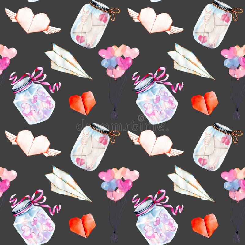 Βαλεντίνων ` s άνευ ραφής σχέδιο στοιχείων watercolor ημέρας ρομαντικό: μπαλόνια αέρα, origami, καρδιές, βάζα γυαλιού διανυσματική απεικόνιση