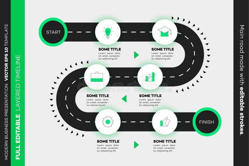 Βαλμένη σε στρώσεις υπόδειξη ως προς το χρόνο Infographic Διανυσματικό Roadmap, πρότυπο για τη σύγχρονη επιχειρησιακή παρουσίαση, ελεύθερη απεικόνιση δικαιώματος