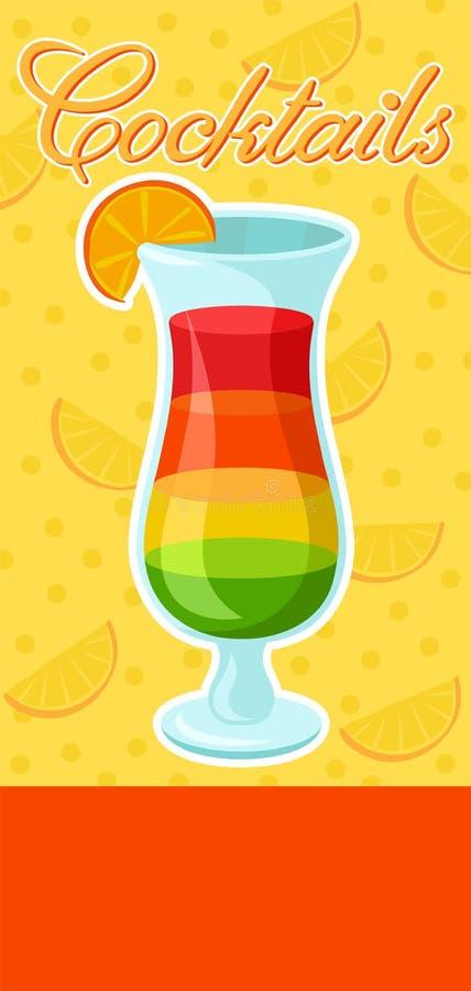 Βαλμένο σε στρώσεις ζωηρόχρωμο οινοπνευματώδες έμβλημα κοκτέιλ, θερινό ποτό, ιπτάμενο εορτασμού κομμάτων κοκτέιλ, πρόσκληση ή διά ελεύθερη απεικόνιση δικαιώματος