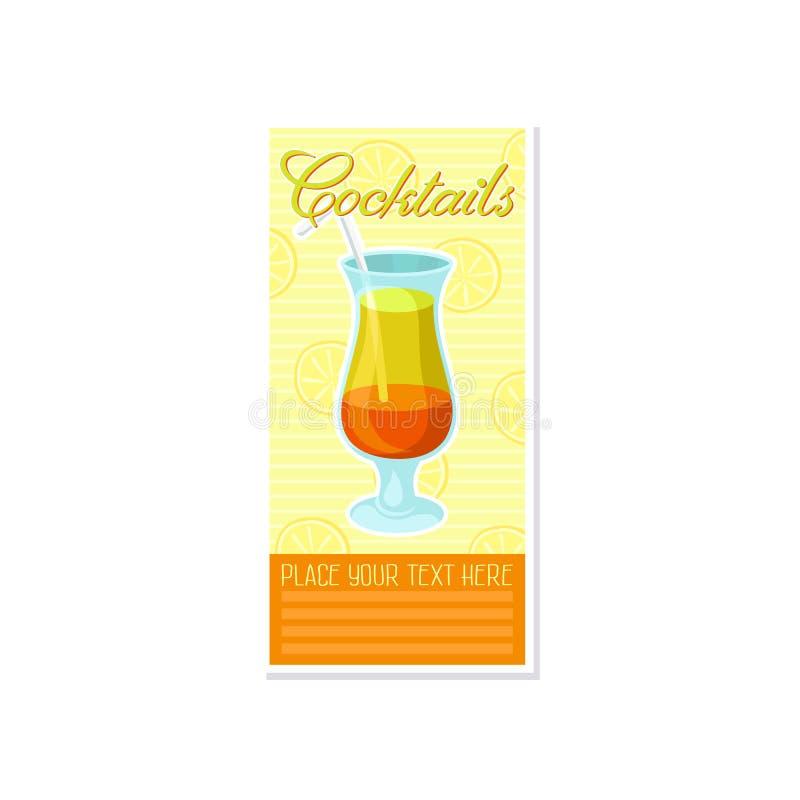 Βαλμένο σε στρώσεις πορτοκαλί και κίτρινο οινοπνευματώδες κοκτέιλ με το έμβλημα αχύρου, θερινό ποτό, ιπτάμενο εορτασμού κομμάτων  απεικόνιση αποθεμάτων