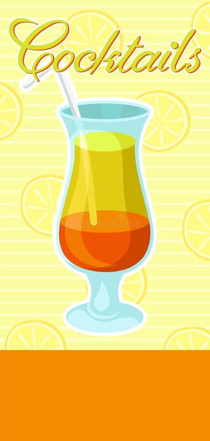 Βαλμένο σε στρώσεις πορτοκαλί και κίτρινο οινοπνευματώδες κοκτέιλ με το έμβλημα αχύρου, θερινό ποτό, ιπτάμενο εορτασμού κομμάτων  διανυσματική απεικόνιση