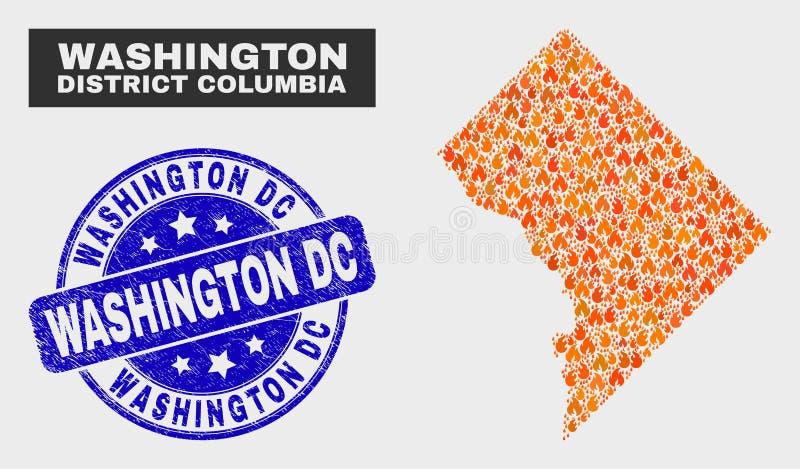 Βαλμένο φωτιά γραμματόσημο του Washington DC χαρτών και κινδύνου της Κολούμπια περιοχής της Ουάσιγκτον μωσαϊκών απεικόνιση αποθεμάτων