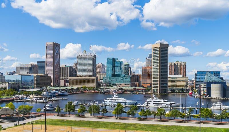 Βαλτιμόρη, Μέρυλαντ, ΗΠΑ 09-07-17: Ορίζοντας της Βαλτιμόρης στο ηλιόλουστο δ στοκ εικόνες με δικαίωμα ελεύθερης χρήσης