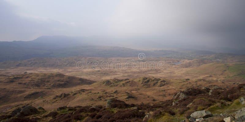 Βαλτότοπος της Misty στην περιοχή λιμνών της βόρειας Αγγλίας, Cumbria στοκ εικόνες
