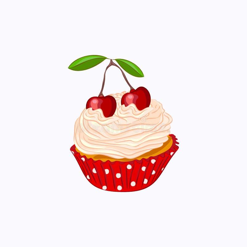 Βανίλια cupcake με την κτυπημένα κρέμα και το κεράσι απεικόνιση αποθεμάτων