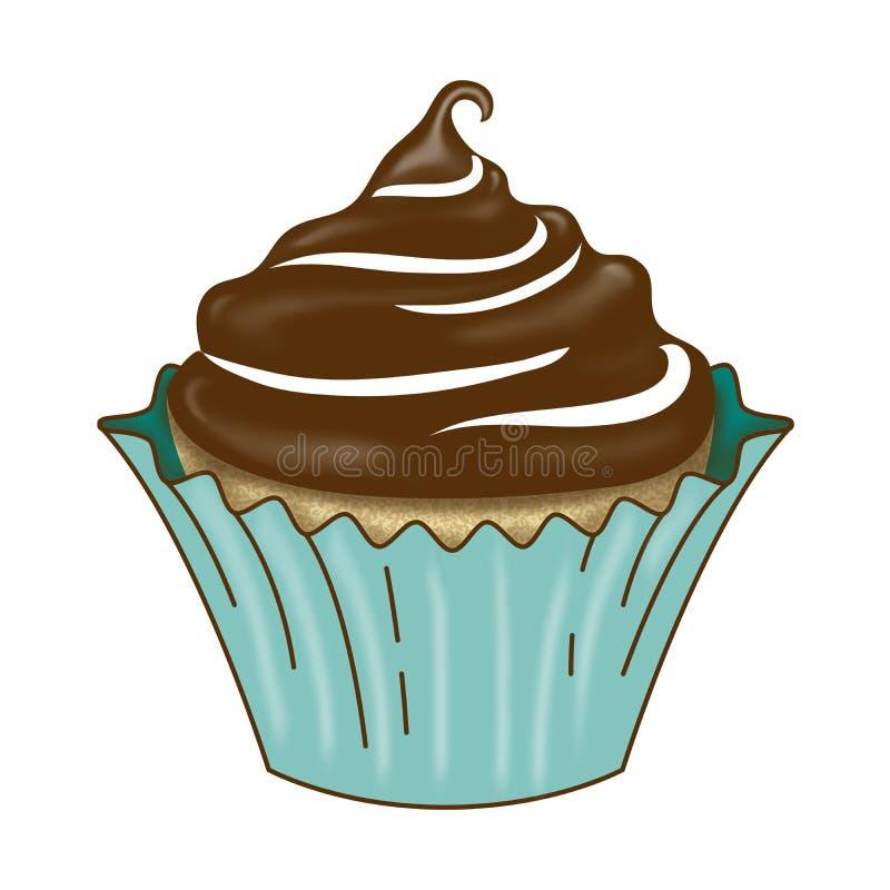 Βανίλια Cupcake με τη σκοτεινή τήξη σοκολάτας απεικόνιση αποθεμάτων