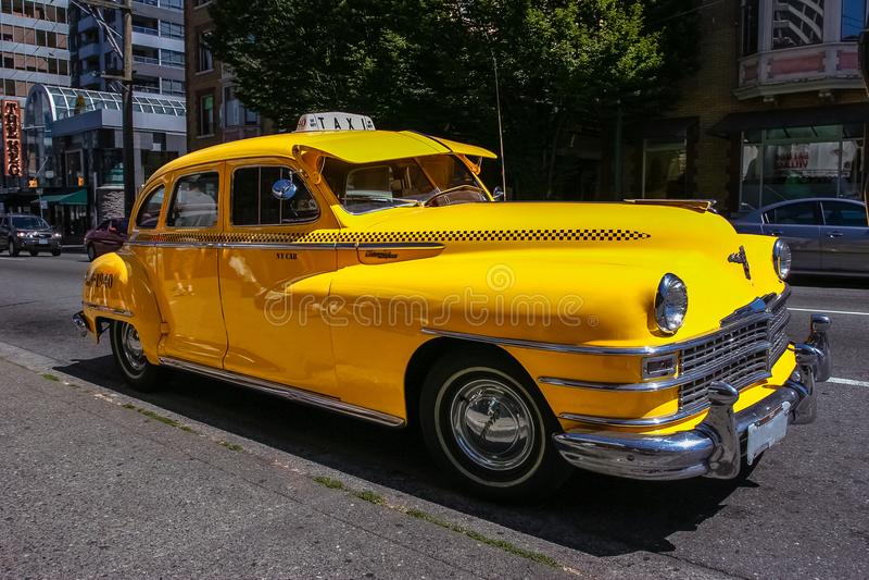 Βανκούβερ/Καναδάς - 28 Ιουλίου 2006: Εκλεκτής ποιότητας κλασικό αμάξι ταξί στοκ φωτογραφία
