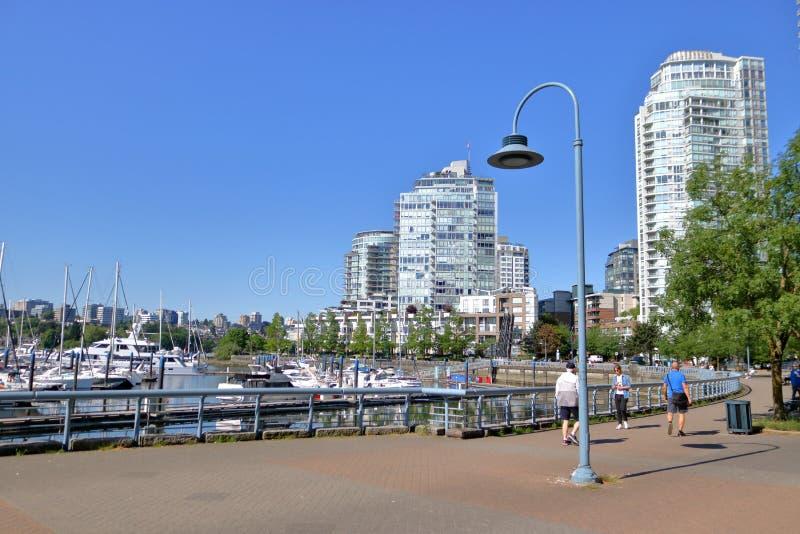 Βανκούβερ, Καναδάς και στο κέντρο της πόλης Seawall στοκ φωτογραφία με δικαίωμα ελεύθερης χρήσης