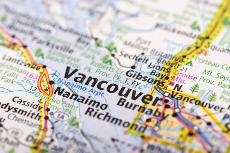 Βανκούβερ στο χάρτη στοκ φωτογραφίες