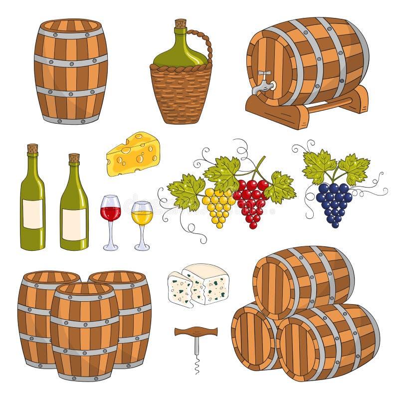 Βαρέλια κρασιού καθορισμένα, διανυσματική απεικόνιση απεικόνιση αποθεμάτων