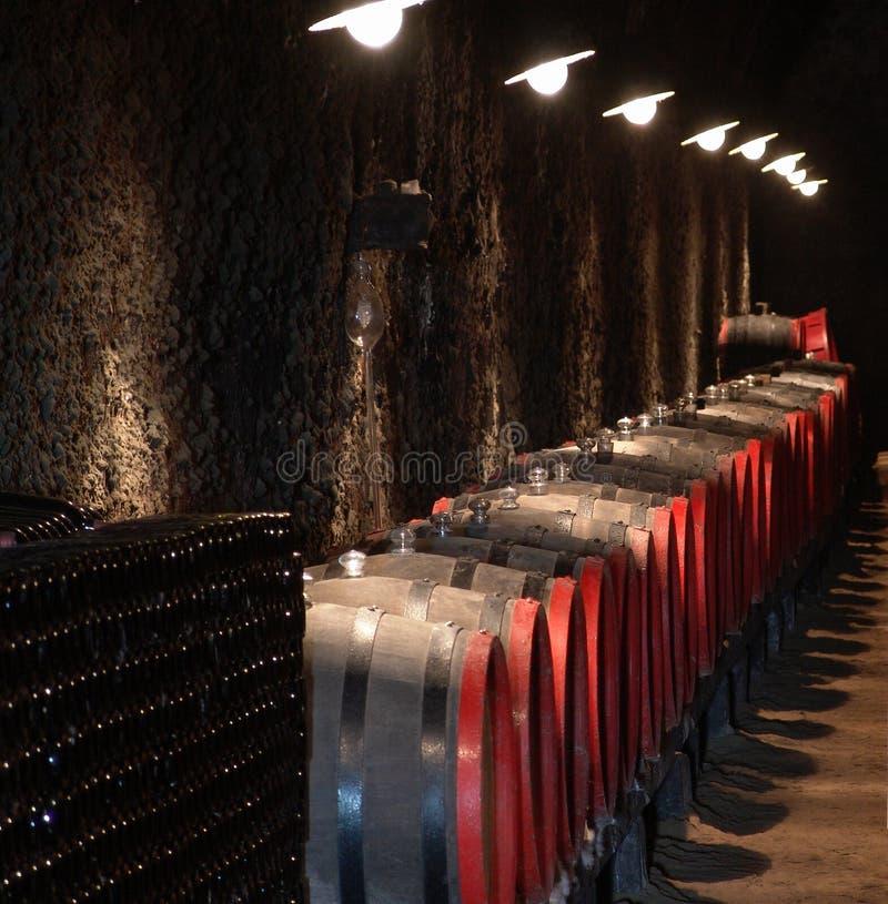 βαρέλια κρασιού κελαριώ&nu στοκ εικόνα με δικαίωμα ελεύθερης χρήσης