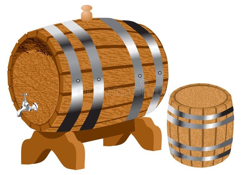 Βαρέλια κρασιού στο λευκό διανυσματική απεικόνιση